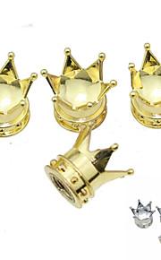 Luxury Car Tire Lmperial Crown Copper Valves Decoration Cap (4 Pieces Per Pack)