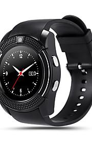 V8 Мужчины Смарт Часы Android Bluetooth Сенсорный экран Хендс-фри звонки Фотоаппарат Регистрация дистанции Педометры / Пульт управления / 0.3 мегапикс. / Датчик для отслеживания активности
