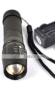 UltraFire W-878 LED Flashlights / Torch LED 1800 lm 5 Mode Cree XM-L T6 with Batteries and Charger Nonslip grip Camping/Hiking/Caving