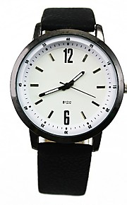 Men's Fashion Watch Quartz Leather Band Minimalist Black