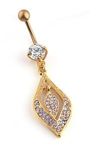 Dame Kropssmykker Navleringe Mode Multi-bæremåder beklædning Chrismas Klassisk Elegant Zirkonium Titanium Stål Geometrisk form Smykker Til