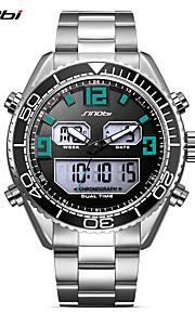 SINOBI Homens Relógio Esportivo Relógio de Pulso Relógio Casual Japanês Digital LED Calendário Dois Fusos Horários Noctilucente