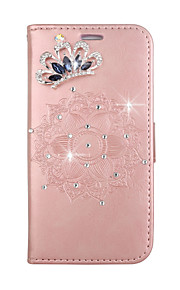 Case For Apple iPhone touch 5 touch 6 Card Holder Wallet Crown Rhinestone with Stand Flip Embossed DIY Full Body Case Mandala Hard PU Leather