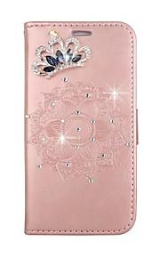 per il caso di copertura di caso del portafoglio del portafoglio del rhinestone con il basamento di schiocco il rilievo del modello del