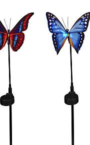 2 stk. Sommerfugl oppladbar soldrevet hageplattform dekorasjon lampefiber optisk med sensor rgb skifte lys