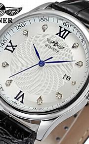 WINNER Homens Relógio Elegante Relógio de Pulso relógio mecânico Automático - da corda automáticamente Calendário Couro Banda Luxo