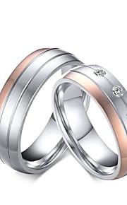 Herre Dame Båndringe Forlovelsesring Kvadratisk Zirconium Rhinsten Kvadratisk Zirconium Titanium Stål Smykker Til Bryllup Aftenselskab
