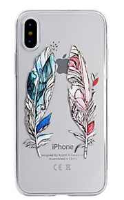 Case For Apple iPhone X iPhone 8 Transparent Pattern Back Cover Feathers Soft TPU for iPhone X iPhone 8 Plus iPhone 8 iPhone 7 Plus