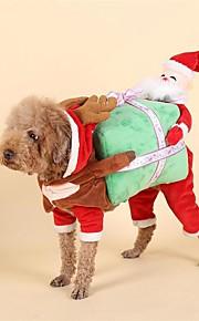 כלב תחפושות בגדים לכלבים אחר חומר למטה חורף קיץ/אביב חג המולד חג מולד חג המולד אדום תחפושות עבור חיות מחמד