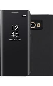 케이스 제품 Samsung Galaxy A7(2017) A5(2017) 스탠드 거울 플립 자동 재우기/깨우기 풀 바디 한 색상 하드 인조 가죽 용 A3 (2017) A5 (2017) A7 (2017)