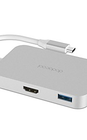 dodocool Aluminum Alloy USB-C to 4-port USB 3.0 Hub with HD Output Port Convert USB Type-C Port into 4 SuperSpeed USB 3.0 Ports and 1 4K HD Output