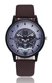 Homens Mulheres Quartzo Relógio de Pulso Chinês Caveira PU Banda Vintage Casual Relógio Criativo Único Legal Dia Das Bruxas Preta Azul