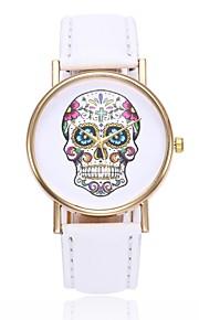 Mulheres Quartzo Relógio de Pulso Chinês Caveira Relógio Casual PU Banda Casual Caveira Relógio Criativo Único Preta Branco Azul Vermelho