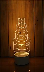 1 sæt 3d stemning nat lys hånd følelse dæmpbar usb powered gave lampe fødselsdagskage