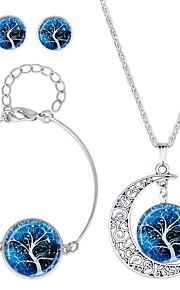 Dame Stangøreringe Halskæde , Klassisk Mode Daglig Glas Legering Cirkelformet 1 Halskæde 1 Armbånd Øreringe