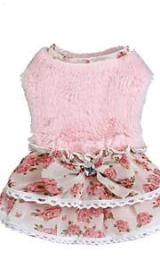 Kat Hund Kjoler Hundetøj Stilfuld Sweet Style Reaktivt Print Patchwork Beige Lys pink Kostume For kæledyr