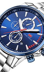 Homens Quartzo Relógio de Pulso Japanês Relógio Casual Cronômetro Aço Inoxidável Banda Casual Minimalista Legal Prata
