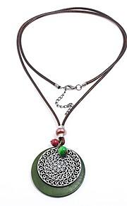 Damskie Circle Shape Kształt Vintage Wyrazista biżuteria Słodkie Naszyjniki z wisiorkami , Drewniany Sznur Stop Naszyjniki z wisiorkami