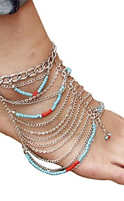 Bohemian Turquoise Anklet - Women's Silver Vintage Bohemian Circle Acrylic Alloy Anklet For Gift Daily