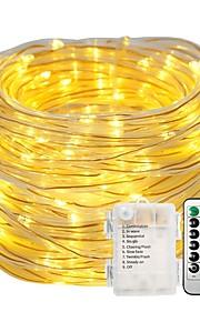 10m Cordões de Luzes Conjuntos de Luzes 100pcs LEDs Branco Quente Branco Impermeável Decorativa Baterias alimentadas 1conjunto