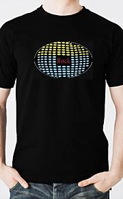 Camiseta com LED Iluminação Design Moderno Eletroluminescência Brilha no Escuro Ativada Por Som Algodão puro Festa Casual 2 Baterias AAA