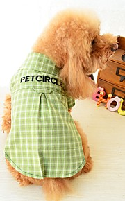 Dogs Cats Pets T-shirts Dog Clothes Striped Simple Quotes & Sayings Yellow Green Cotton / Polyester Costume For Pets Female Fashion