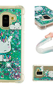 Case For Samsung Galaxy A8 2018 / A8 Plus 2018 Shockproof / Flowing Liquid / Pattern Back Cover Unicorn / Glitter Shine Soft TPU for