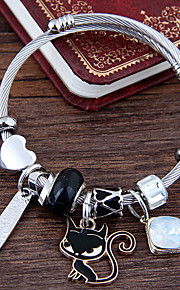 Damskie Warstwy materiały Bransoletki z breloczkami - Kot Europejski, Modny, Słodkie Style Bransoletki White / Black / Różowy Na Codzienny