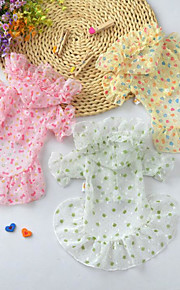 Dogs / Cats Dress Dog Clothes Heart / Bowknot / Flower Yellow / Pink / Light Green Chiffon Costume For Pets Summer Female Dresses&Skirts / Simple Style