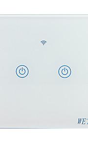 Weto w-t12 eu / us / cn 2 gang wifi inteligentny przełącznik dotykowy czujnik dotykowy przełącznik inteligentny pilot domu działa z alexa google domu za pośrednictwem smartf ...