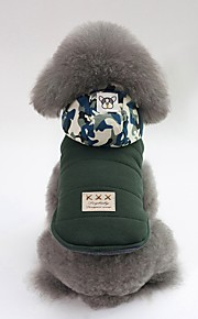Dogs Coat Dog Clothes Solid Colored / Camouflage Color Gray / Green Cotton Costume For Pets Unisex Casual / Daily / Warm Ups