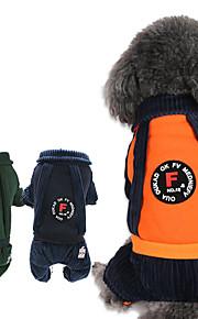 Dogs / Cats Jumpsuit Dog Clothes Stripe Orange / Dark Blue / Dark Green Cotton Costume For Pets Unisex British