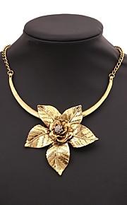 Damskie Klasyczny Naszyjniki z wisiorkami - Kwiat Elegancki, Klasyczny Złoty, Srebrny 40+7 cm Naszyjniki Biżuteria 1 szt. Na Codzienny