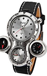 Oulm Ανδρικά Στρατιωτικό Ρολόι Χαλαζίας Δέρμα Μαύρο / Καφέ Θερμόμετρο Ανθεκτικό στα Χτυπήματα Αναλογικό Πολυτέλεια Μοντέρνα - Λευκό Καφέ Ενας χρόνος Διάρκεια Ζωής Μπαταρίας