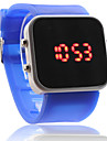 Silicone Band Women Men Unisex Jelly Sport Style Square Mirror LED Wrist Watch - Blue Cool Watch Unique Watch