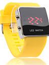 Unisex LED Digital Square Case Yellow Silicone Band Wrist Watch