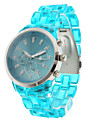 Fashionable Quartz Wrist Watch with Blue Plastic Band
