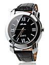 Men's Roman Numerals Black PU Band Quartz Wrist Watch Cool Watch Unique Watch