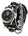 Unisex Skeleton PU Analog Quartz Wrist Watch (Black) Cool Watch Unique Watch
