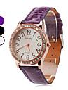 quartz analogique Diamante cas rond PU montre-bracelet de bande de femmes (couleurs assorties)