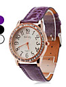 Women's Quartz Analog Diamante Round Case PU Band Wrist Watch (Assorted Colors)