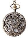 Unisex Aço analógico relógio de bolso de quartzo com Borboleta (Bronze)