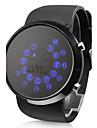 남성 손목 시계 LED 디지털 실리콘 밴드 블랙