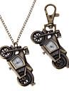 Unisex Motorcycle Style Alloy Analog Quartz Keychain Necklace Watch (Bronze)