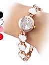 quartz analogique coeur affectueux de style bande d'alliage de bracelet de montre des femmes (couleurs assorties)