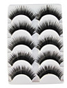 5 Pairs Black False Eyelashes European Lengthening Thicker Fiber Natural Looking Curved Lashes Eye