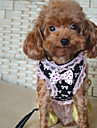 고양이 강아지 하니스 가죽끈 캐쥬얼 리본매듭 레이스 나일론 블랙 핑크