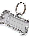 Chien Tags ID Etiquettes Strass Os Argent Alliage