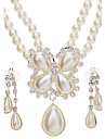 Női Ékszer készlet Gyöngy Luxus Divat Esküvő Parti Különleges alkalom Évforduló Születésnap Ajándék Naušnice Nyakláncok Jelmez ékszerek