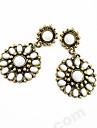 Vintage Bohemia Alloy Acrylic Flower Pattern Earrings